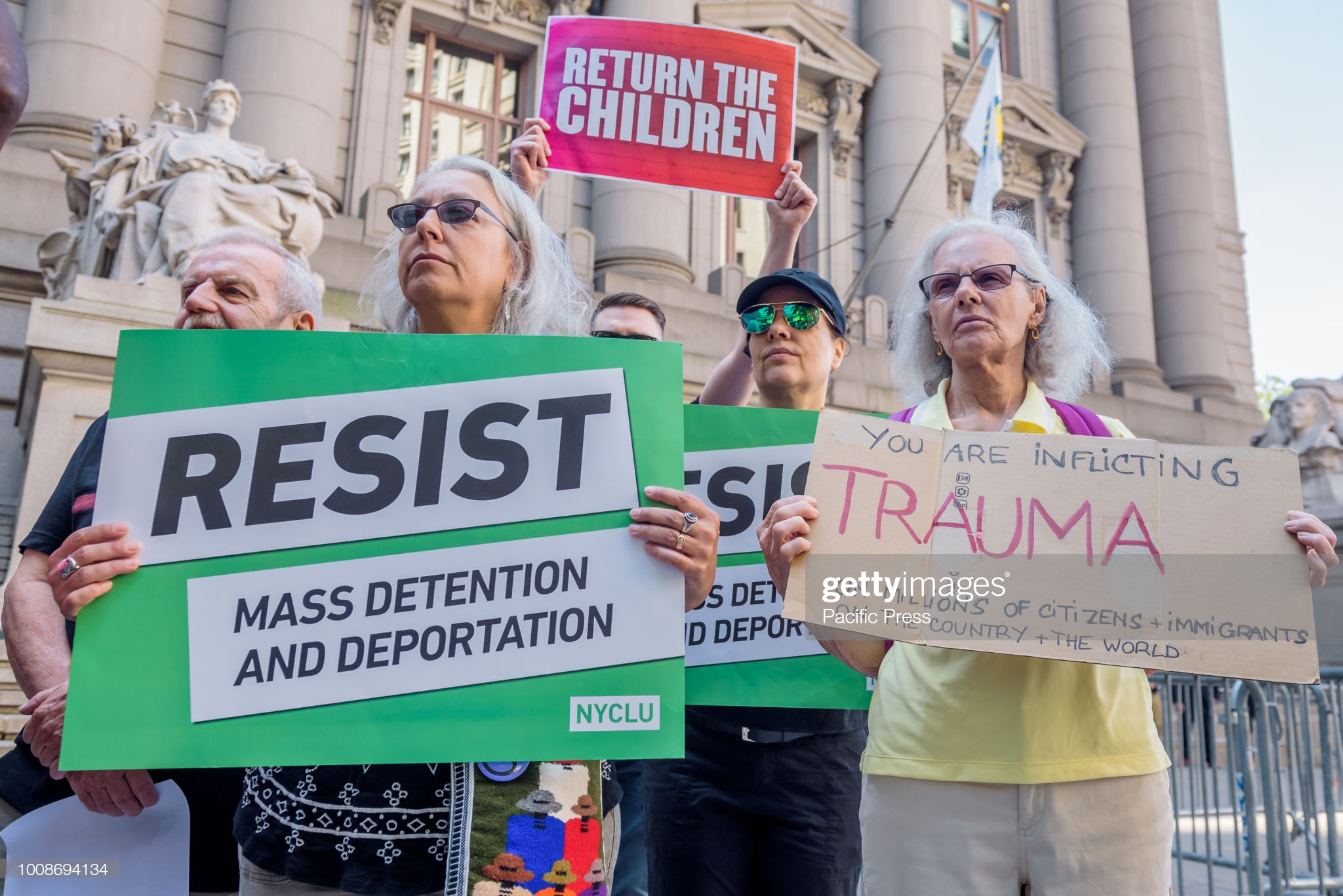 ALEXANDER HAMILTON CUSTOM HOUSE, NEW YORK, UNITED STATES - 2018/07/31: Immigration advocates seeking to Abolish ICE gathered outside the Alexander Hamilton Custom House in Bowling Green where DHS Secretary Kirstjen Nielsen and Vice President Mike Pence attended a DHS conference, to demand that Secretary Nielsen and VP Pence reunite the families cruelly separated through anti-immigrant policies. (Photo by Erik McGregor/Pacific Press/LightRocket via Getty Images)