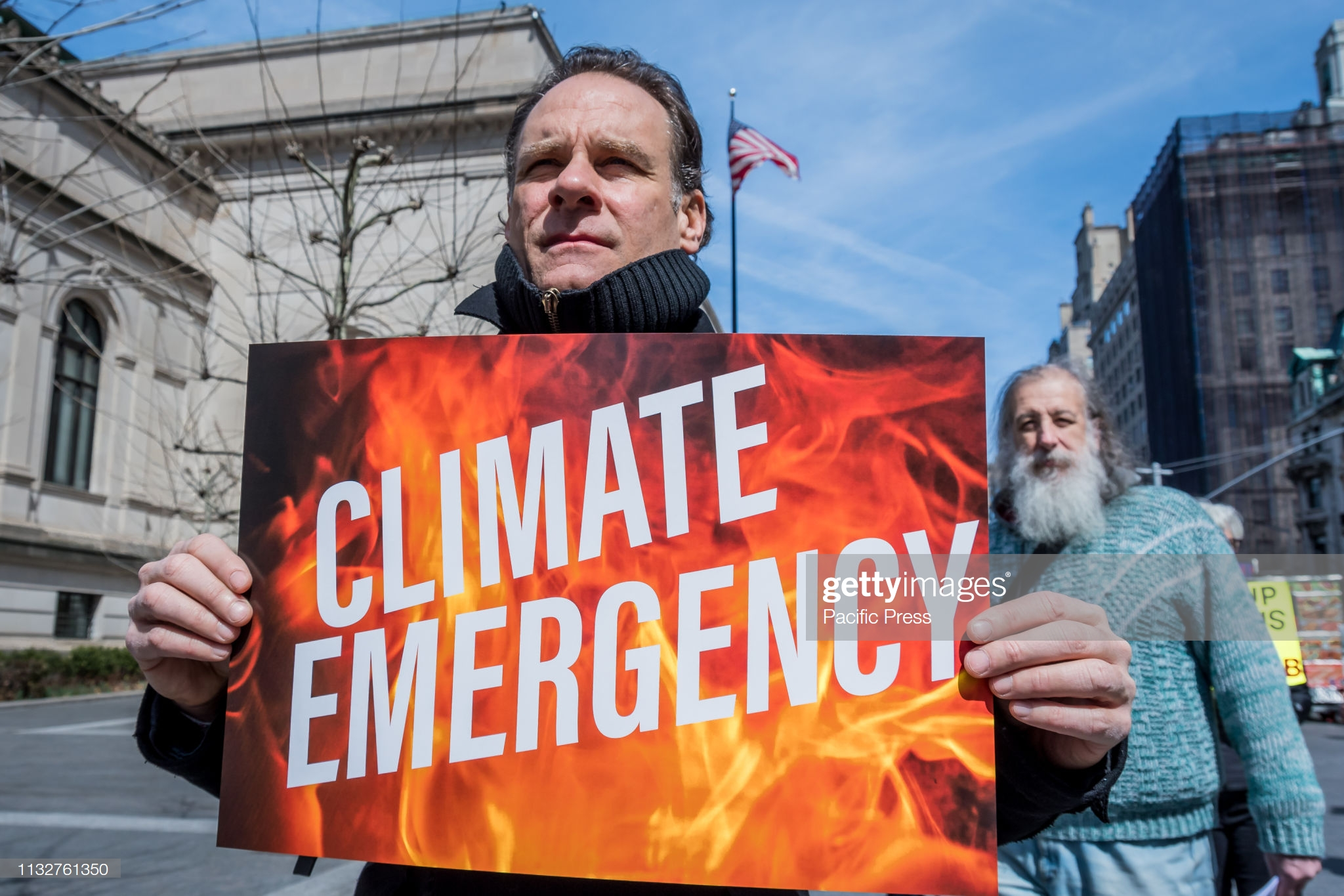 KOCH PLAZA AT THE METROPOLITAN MUSEUM OF ART, NEW YORK, UNITED STATES - 2019/03/24: Activists from Rise and Resist, with co-sponsors 350NYC, Food and Water Watch New York, and 350 Brooklyn gathered at the Koch Plaza outside the Metropolitan Museum of Art in NYC to call for a massive global response and urgent action to end our climate emergency and demanding the rejection of climate denial and delay. (Photo by Erik McGregor/Pacific Press/LightRocket via Getty Images)